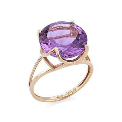 Золотое кольцо с аметистом круглой огранки 3.7 г SV-0529-321